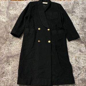 Christian Dior Black Wool Double Breasted Coat